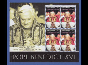 Papst Benedikt XVI. Blockausgabe Gambia **