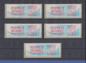 Frankreich 1989 Sonder-ATM ASSEMBLEE NATIONALE Satz 2,00-2,20-3,70-6,20-11,00 **