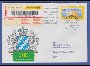 Deutschland ATM Mi.-Nr. 3.1 Wert 100 auf R-Brief von SIGMARINGENDORF in die USA