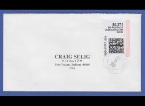 USA Internet-Frankaturmarke $ 0,37 stamps.com auf Ortsbrief Fort Wayne 2003