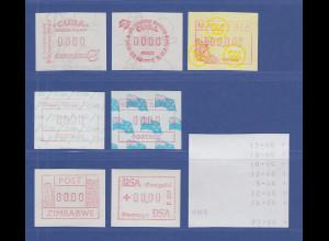 Übersee 7 verschiedene FRAMA-ATM 0000-Drucke ** Mi.-Wert 97,- Euro