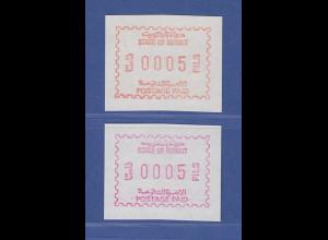 Kuwait Frama-ATM je 1x seltene Erstausgabe 1984 (braunrot) und Neuauflage 1989