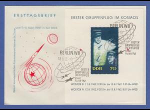 DDR 1962 Erster Gruppenflug im Kosmos Wostok 3 und 4 Mi.-Nr. Block 17 auf FDC