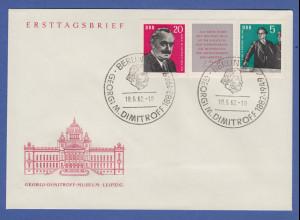 DDR 1962 Georgi Dimitrow Zusammendruck Mi.-Nr. 893-94 3er-Streifen auf FDC