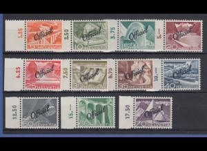 Schweiz Dienstmarken Landschaften 1950 Mi.-Nr. 64-74 Satz 11 Werte kpl. **