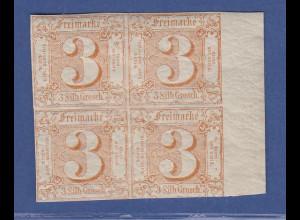 Altdeutschland Thurn und Taxis Mi.-Nr. 31 Rand-Viererblock postfrisch **