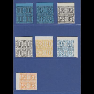 Altdeutschland Thurn und Taxis offiz. Neudrucke von 1909, Lot 7 Viererblocks