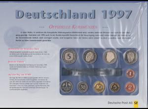 Deutschland DM-Kursmünzensatz 1997 G Polierte Platte PP / proof Ausgabe DPAG