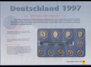 Deutschland DM-Kursmünzensatz 1997 J Polierte Platte PP / proof Ausgabe DPAG