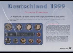 Deutschland DM-Kursmünzensatz 1999 F Polierte Platte PP / proof Ausgabe DPAG