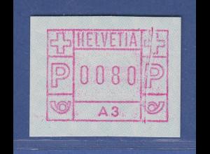 Schweiz 1976, 1. FRAMA-ATM Ausgabe A3 **, Wert 0080 mit schöner Farbbandnaht
