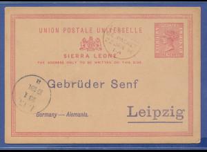 Sierra Leone, alte Ganzsache 1896 über Liverpool gel. nach Leipzig