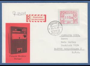 Portugal Frama-ATM 1981, ATM 001 aus OA auf R-brief mit Orts-O Portimao 28.4.83