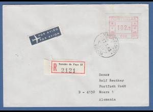 Portugal Frama-ATM 1981, ATM 002 aus OA auf R-Brief Terreiro do Paco, 17.1.83