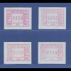 Schweiz 1976, 1. FRAMA-ATM Ausgabe A1-A4 **, Werte 0020-0040-0080-0110