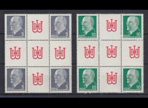 DDR Walter Ulbricht 2 Herzstücke Mi.-Nr. Hz 10 und Hz 11 **
