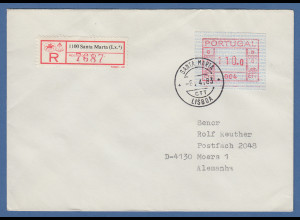 Portugal Frama-ATM 1981, ATM 004 aus OA auf R-Brief Santa Marta, 6.4.83