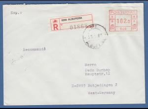 Portugal Frama-ATM 1981, ATM 006 aus OA auf R-Brief Albufeira, 25.1.83
