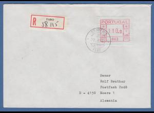 Portugal Frama-ATM 1981, ATM 003 aus OA auf R-Brief Faro, 27.4.83