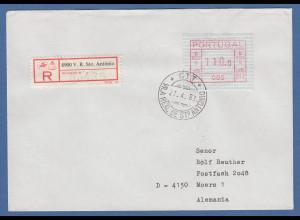 Portugal Frama-ATM 1981, ATM 005 aus OA auf R-Brief Vila Real, 27.4.83
