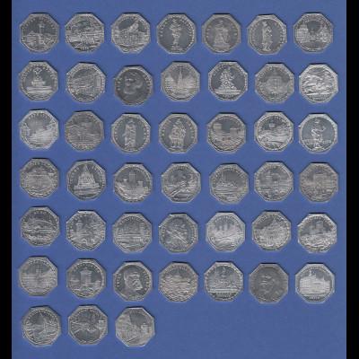 Nürnberg-Fürther Straßenbahn 1921 Sammlung 45 20Pfg-Alumünzen kpl. in Kassette