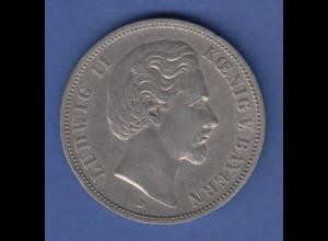 Deutsches Kaiserreich Bayern König Ludwig II. Silbermünze 5 Mark 1876 D ss-vz
