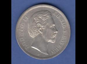 Deutsches Kaiserreich Bayern König Ludwig II. Silbermünze 5 Mark 1875 D vz