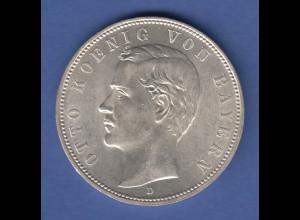Deutsches Kaiserreich Bayern König Otto Silbermünze 5 Mark 1908 D fast stg