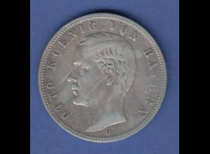 Deutsches Kaiserreich Bayern König Otto Silbermünze 5 Mark 1901 D fast vz