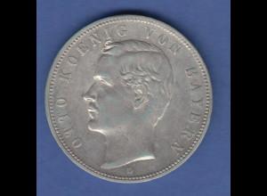 Deutsches Kaiserreich Bayern König Otto Silbermünze 5 Mark 1899 D vz