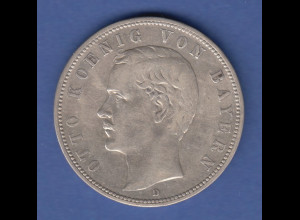 Deutsches Kaiserreich Bayern König Otto Silbermünze 5 Mark 1904 D vz
