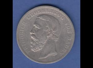 Deutsches Kaiserreich Baden König Friedrich Silbermünze 5 Mark 1875 A ss
