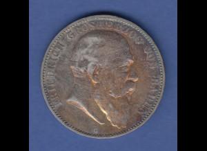 Deutsches Kaiserreich Baden König Friedrich Silbermünze 5 Mark 1904 G vz