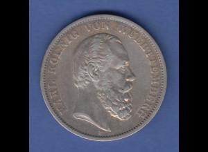 Deutsches Kaiserreich Württemberg König Karl Silbermünze 5 Mark 1875 F ss-vz