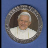 Medaille Papst Benedikt XVI. Pontifex Maximus mit Farb-Applikation