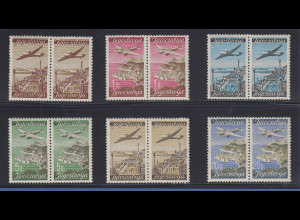 Jugoslawien 1947 Flugpostmarken Mi.-Nr. 515-520 Satz 6 Paare kpl. **