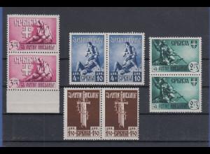 Dt. Besetzung 2.WK Serbien 1943 Mi.-Nr. 86-89 ** Kriegsinvaliden Paar-Satz **