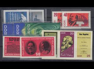 DDR 1963-1968 Zusammenstellung 12 verschiedene Block-Einzelmarken **