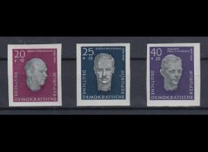 DDR 1958 Block-Einzelmarken Mi.-Nr. 606-608 B aus Block 15 **