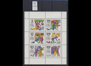 """DDR 1969 Märchen Kleinbogen Mi.-Nr. 1450 Klb I mit Plattenfehler offenes """"o"""" **"""