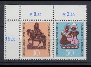 DDR 1969 Lausitzer Volkskunst Zusammendruck Mi.-Nr. WZd 210 mit Leerfeld links**