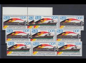 DDR 1986 Eisenbahnfähre Mi.-Nr. 3052-53 kpl. Garnitur 6 Zusammendrucke **