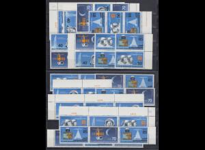 DDR 1986 Raumfahrt Mi.-Nr. 3005-3008 kpl. Garnitur 16 Zusammendrucke **