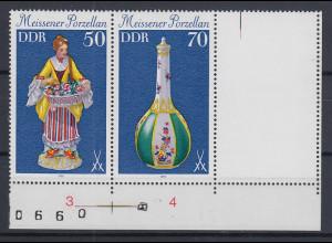 DDR 1979 Meissener Porzellan Zusammendruck mit Leerfeld Mi.-Nr. W Zd 435 L **