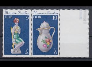 DDR 1979 Meissener Porzellan Zusammendruck mit Leerfeld Mi.-Nr. W Zd 423 L **