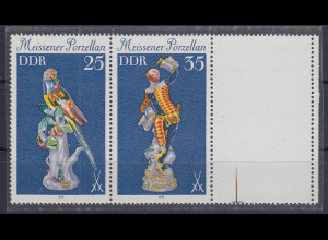 DDR 1979 Meissener Porzellan Zusammendruck mit Leerfeld Mi.-Nr. W Zd 431 L **