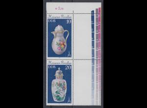 DDR 1979 Meissener Porzellan Zusammendruck mit Leerfeldern Mi.-Nr. S Zd 187 L **