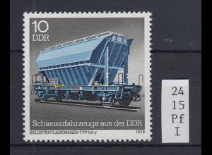 DDR 1979 Schienenfahrzeuge 10 Pfg. Mi.-Nr. 2415 mit Plattenfehler B gebrochen **