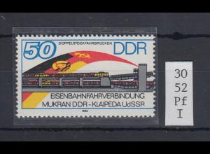 DDR 1986 Fährverbindung 50 Pfg. Mi.-Nr. 3052 mit Plattenfehler R verkürzt **