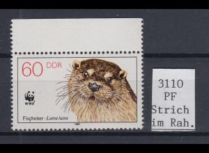 DDR 1987 Fischotter Mi.-Nr. 3110 mit Plattenfehler Strich im Rahmen **